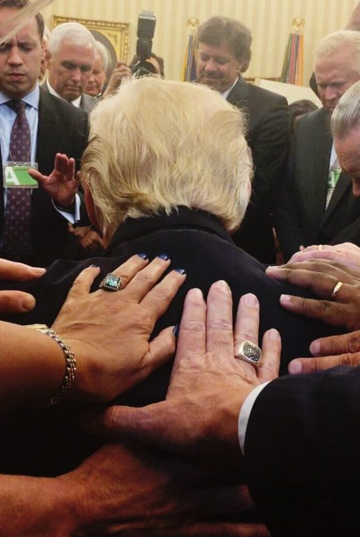 Keep right on pretending to pray, but not even God himself can save you  now, Donald Trump
